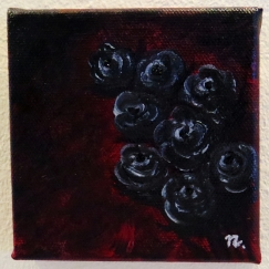 "Title : ""Wild Black Roses on Crimson"""
