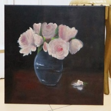 "Title : ""The Peonies Bloom in a Glass Vase"""
