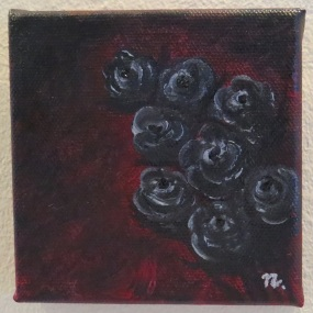 LR Wild Black Roses on Crimson