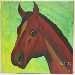 "Title : ""Horse on Green"""